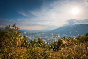 秋の大城山頂上から、辰野町を眺めてみました。